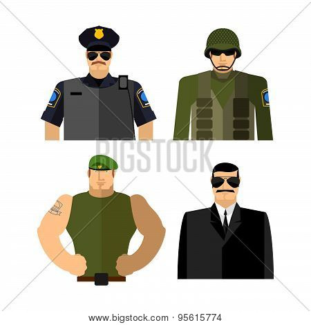 Set of men in work clothes. Police and military. Soldier and spy. Vector illustration.
