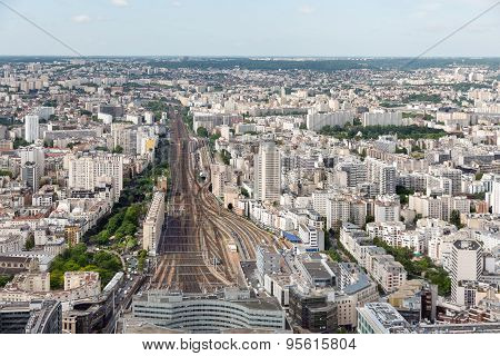 Paris With Aerial View At Gare Montparnasse