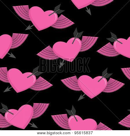 Heart and arrow symbol of love. Winged heart seamless pattern. Background for Valentine's day. Heart