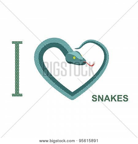 I love snakes. Symbol of  heart of  snake. Python curled up. Vector illustration of reptiles.