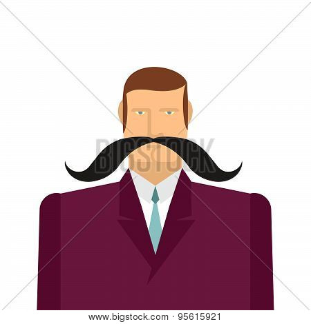 Male big black mustache. Vector illustration of a man in a suit. Gentleman.