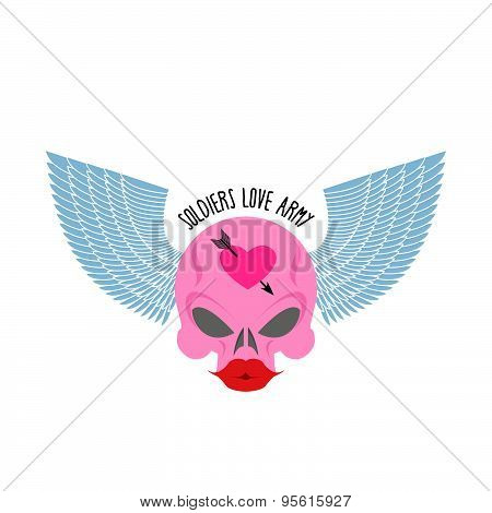 Logo, logo of soldier of love. Pink skull with large red lips and blue wings. Female skull blondes.