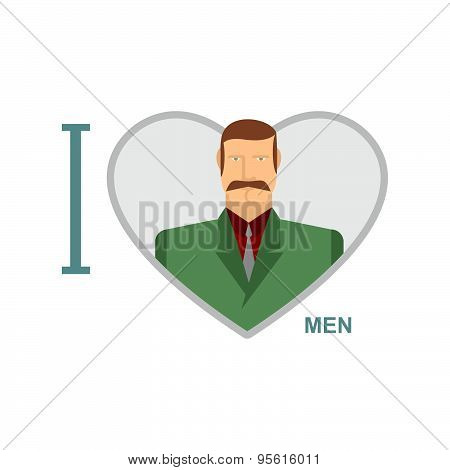 I love men. Male and symbol of heart. Vector illustration of a man in a suit.