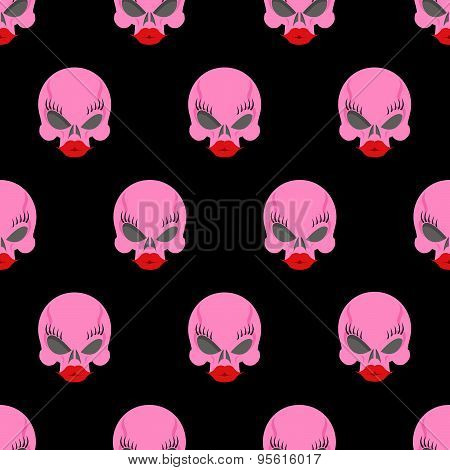 Woman skull seamless pattern. Vector background pink skull blonde