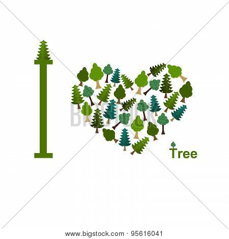 I love trees. Symbol heart of trees and firs. vector illustration for nature lovers.