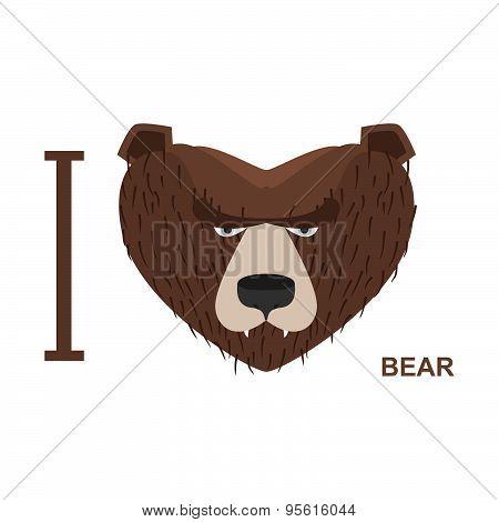 I love bear. Symbol heart bear head. Vector illustration for wildlife lovers
