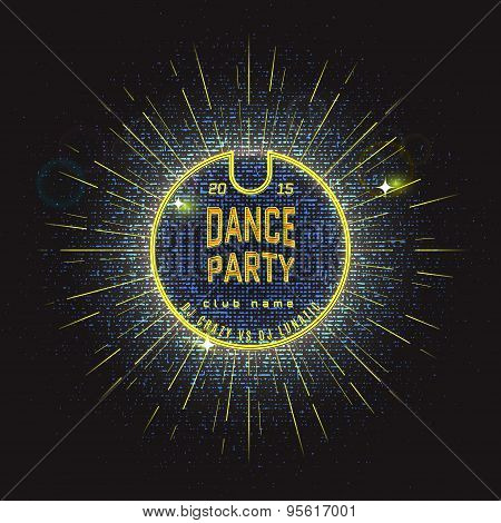 Dance party badges logos and labels Neon for any use