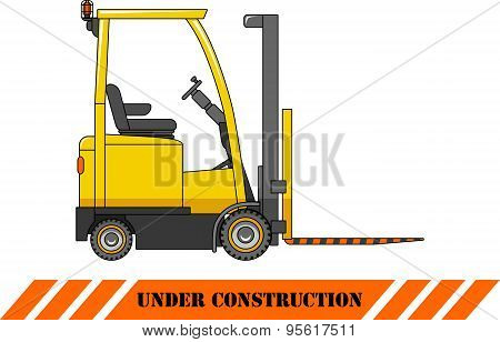 Forklift. Heavy construction machines.