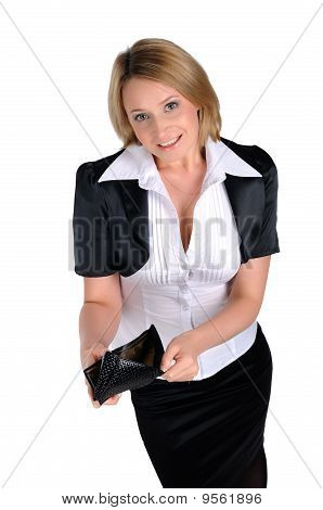 Young Business Woman With A Wallet