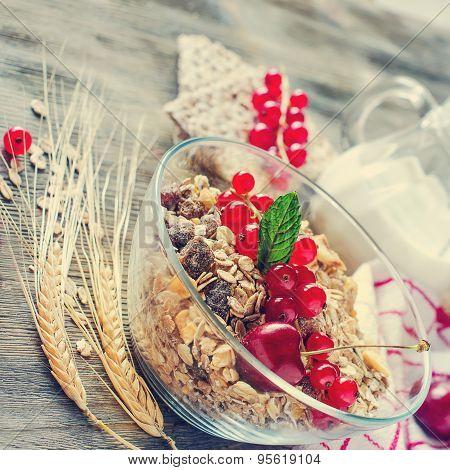 Healthy Breakfast With Muesli, Fresh Berries, Crispbread And Wheat, Rolled Oats