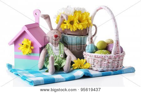 Easter bunny with painted Easter eggs with flowers on white background