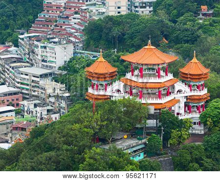 Aerial view of colorful Buddha temple. Taiwan
