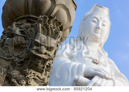 Fragment of the statue of Goddess Guanyin. Taiwan