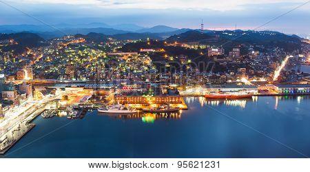 Panoramic night view of Keelung harbor. Taiwan