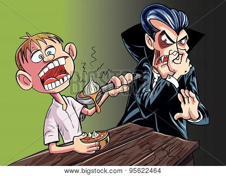 Cartoon vampire scared of garlic