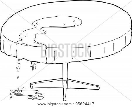 Water Dripping From Outlined Table