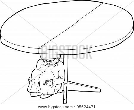 Outline Of Shaking Girl Under Table