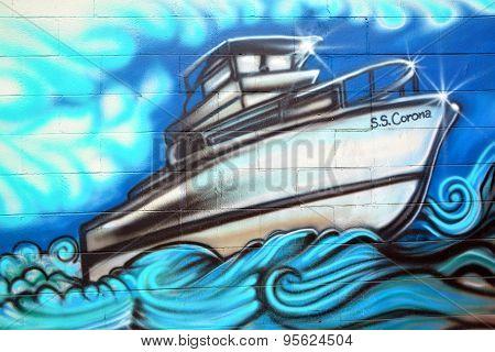 Boat mural art
