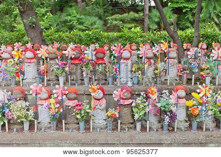 Jizo Statues In Zojo-ji Temple, Tokyo, Japan