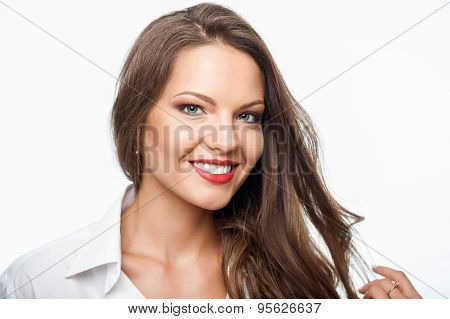 Attractive young woman is expressing her positive emotions