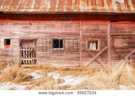 Abandoned Derelict Farm Barn Cold Winter North Country