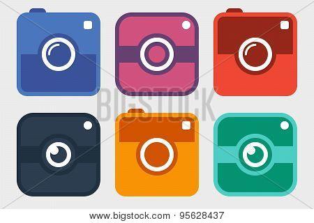 Hipster Photo Camera Icon Set