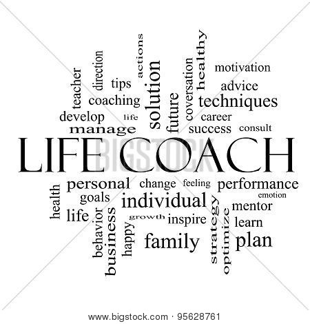 Life Coach Word Cloud Concept In Black And White