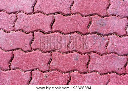 Red Brick Pavement Floor Texture