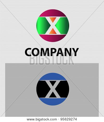 Set of two isolated stylish X symbol graphic elements X