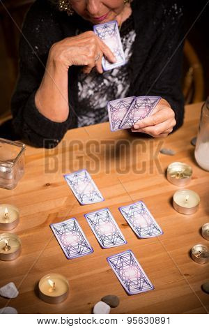 Magic Woman Using Tarot Cards