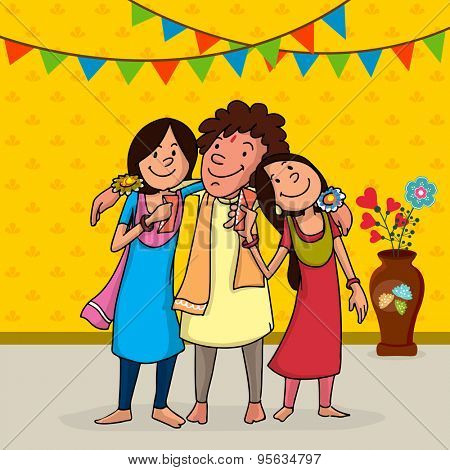 Illustration of a happy brother hugging his sisters on bunting decorated yellow background for Happy Raksha Bandhan celebration.