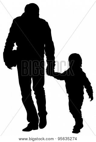 Silhouette father and son out for a walk