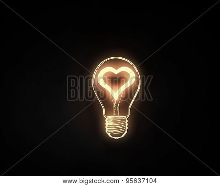 Heart shape in light bulb on black background