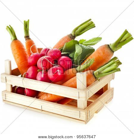 fresh vegetable,  radish, carrots in wooden crate box isolated on white background