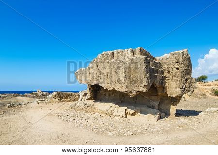 Ancient remains in the Tombs of the Kings archaeologica place at Paphos, Cyprus.