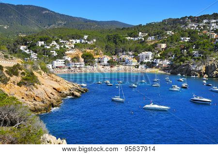 a view of Cala Vedella beach in Sant Josep de Sa Talaia, in Ibiza Island, Balearic Islands, Spain