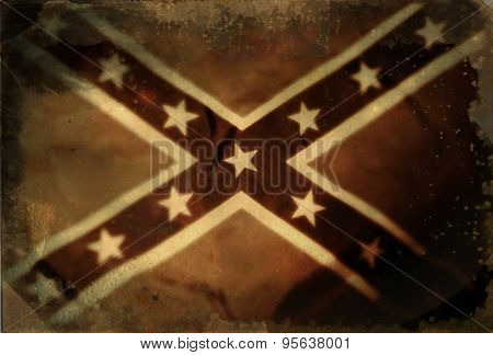 Instagram filtered image of vintage style Confederate Rebel flag