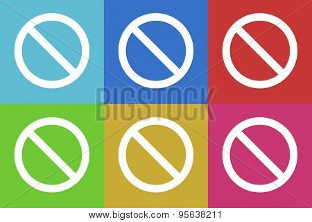 access denied flat design modern vector icons set for web and mobile app