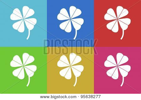 four-leaf clover flat design modern vector icons set for web and mobile app