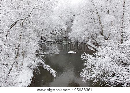 A winter landscape show snow falling on a creek with trees