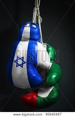 The Conflict Between Israel And Palestine Symbolized With Boxing Gloves