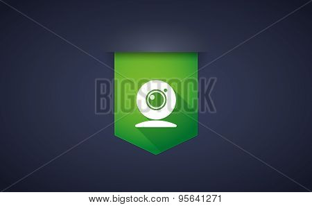 Long Shadow Ribbon Icon With A Web Cam