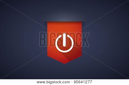 Long Shadow Ribbon Icon With An Off Button