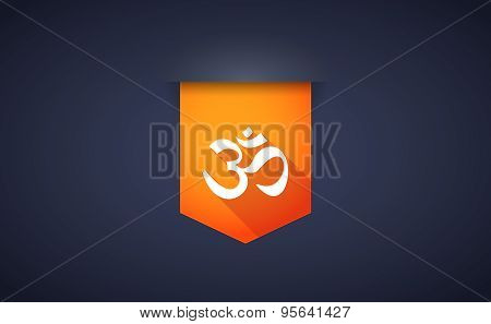 Long Shadow Ribbon Icon With An Om Sign