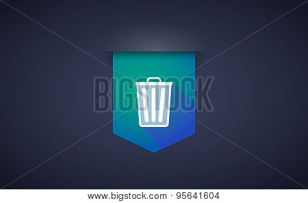 Long Shadow Ribbon Icon With A Trash Can