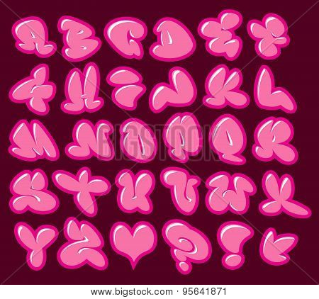 Graffiti Bubble Gum Pink Vector Fonts With Gloss And Color Outline