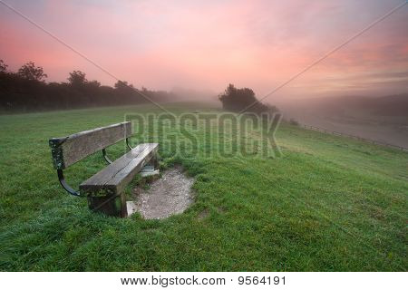 Bench On A Misty Dawn