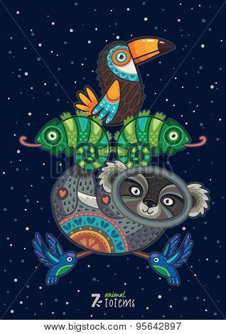 Vector illustration of wild totem animal. Koala, toucan, hummingbird, chameleon