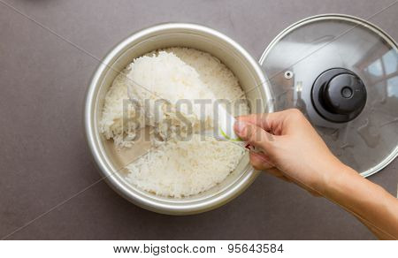 Cooked Rice For Cooking And Eat.