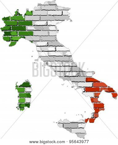 Italy Map On A Brick Wall